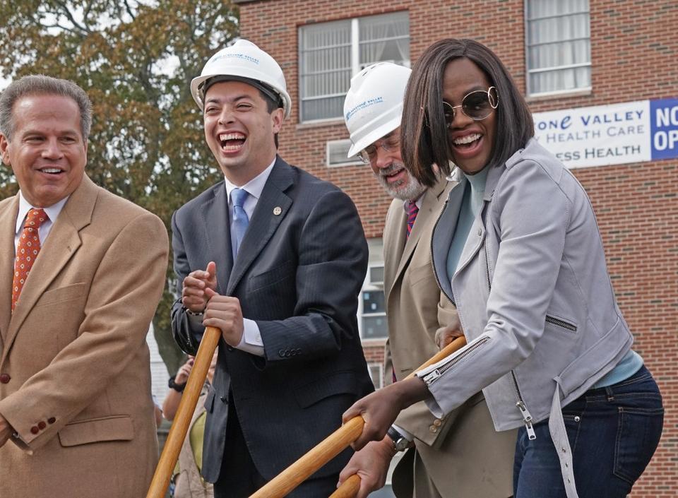 Viola Davis attending the Blackstone Valley Community Health Care Groundbreaking Ceremony